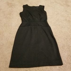 Banana Republic Black and Gray Checkered Dress